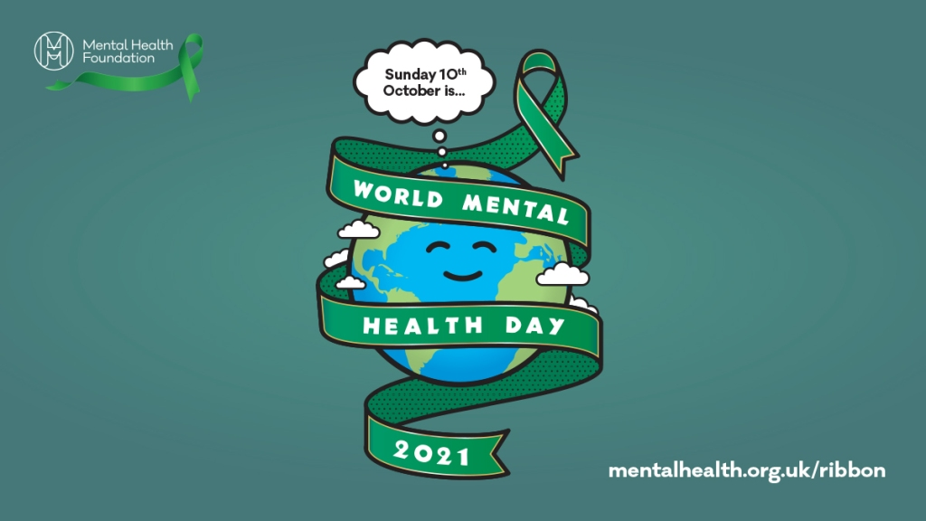 A smiling cartoon Earth wrapped in a green ribbon, the logo of World Mental Health Day 2021